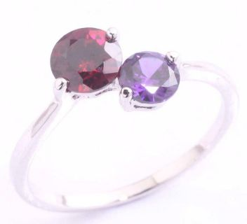 New - Dainty Garnet and Amethyst Ring - Size 8