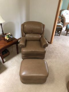 Custom Genuine Leather Recliner & Ottoman