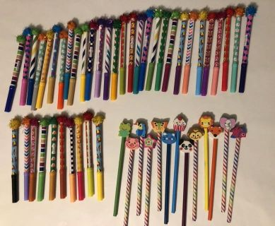 New markers and pencils with erasers (party favor extras)