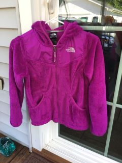 GRRAT SHAPE - GIRLS SIZE MED - 10/12 - WARM - 'NORTH FACE' JACKET / COAT - WITH HOOD - ZIPPERED FRONT & 2 FRONT PICKETS