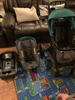 Baby Stroller, Car Seat, and Car Base.