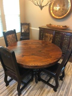 Spanish Iron & Wood Formal Dining Table and 6 Cow Hide Chairs