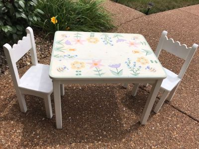 Children s table & chairs. I got one coat of paint on the chairs and intended to paint the table and then do another coat of paint on all.
