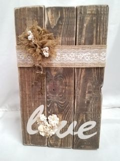 Rustic wooden, pearls and lace wall hanging