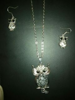 Owl charm with necklace and earrings