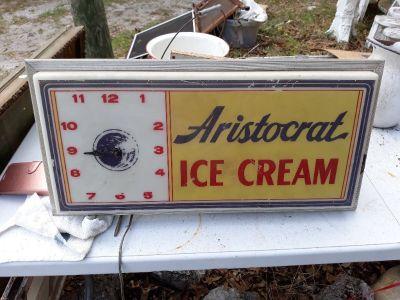 Ice cream lighted clock sign