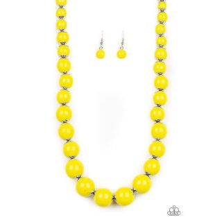 Paparazzi Eye Candy Yellow Necklace & Earring Set NWT