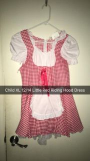 Child XL 12 to 14 little red riding hood dress(can t be a small junior)