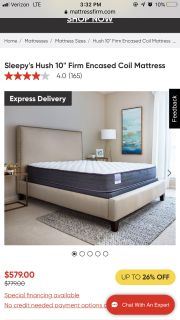Sleepys Hush Firm Twin XL Mattress and Box Springs/Foundation and Frame