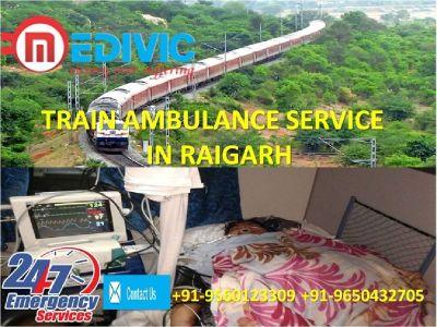 Hire Authentic Fare Train Ambulance Service in Raigarh by Medivic