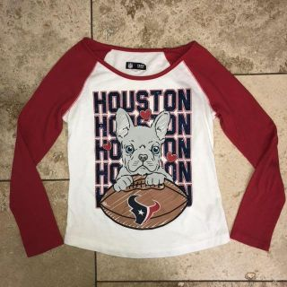 Girls JUSTICE Houston Texans Football Team Glittery Long Sleeve Shirt with dog on it size 8 10