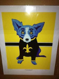 Signed Blue Dog by George Rodrigue We Are Marching Again