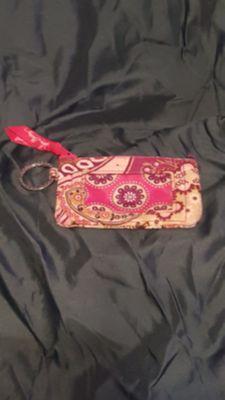 Authentic Vera Bradley wallet, coin, & ID purse w/keychain