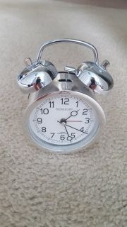 Sterling and Noble Silver Alarm Table Clock