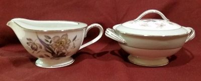 Vintage Noritake Shasta Pattern Creamer and Sugar Bowl