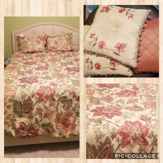 EUC Queen bedding which includes comforter, 2 shams, 3 decorative pillows, dust ruffle, and curtains. This came from Dillard's and was over