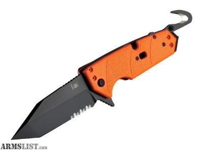 For Sale: Hogue HK Karma 3.75 First Response Tool Folder Tanto Blade Partially Serrated Flipper Black Finish G10 Scales Orange 54204