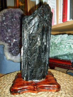 Huge Black Tourmaline Crystal on Wooden Base for Home or Office Decor