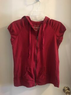 Red hooded shirt