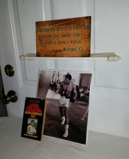 Muhammad Ali & Boxing Group. Ali sign, KO boxing 250 card set with Ali card. 8 by 10 front. Loser & still Champion Muhammad Ali book. $20