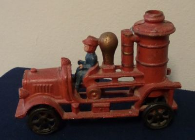 Cast Iron Toy Fire Engine Firetruck Antique Repro