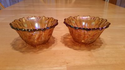 Vintage Carnival Glass Candle Holders
