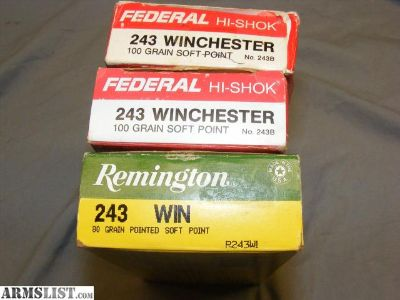 For Sale/Trade: .243 Winchester (47) Rnds Factory Ammunition Ammo