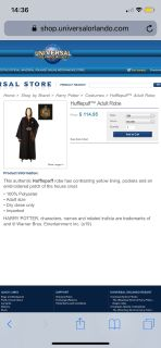 Harry Potter Hufflepuff Robe w/ necktie and pin