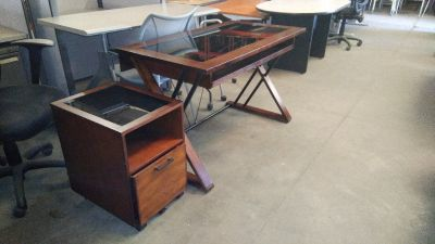 Desk with Matching File Cabinet