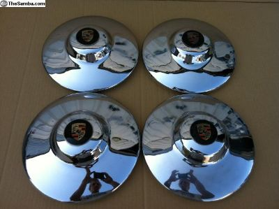 Porsche 356 OEM Hubcaps, Orange Band