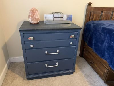 3 drawer chest, blue, maybe boys bedroom