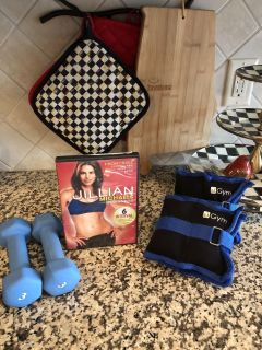 Exercise Equipment (two 3lb hand weights, Julian Michaels Exercise Video, two 2-2.5 leg weights