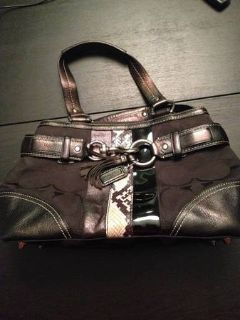 Coach Purse- Black with Snakeskin accent