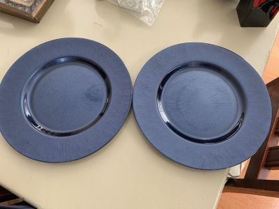 Never used cobalt blue glass charger plates asking $10 for the pair