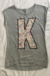 Justice brand Initial K heather gray tee shirt with colorful sprinkles. Girls Sz 16/18. Great condition! Only $4!