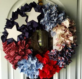 16 RAG WREATH Patriotic unique! Wood stars