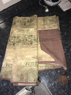 Curtains w/2 matching valences and tie backs (Heavy Duty)