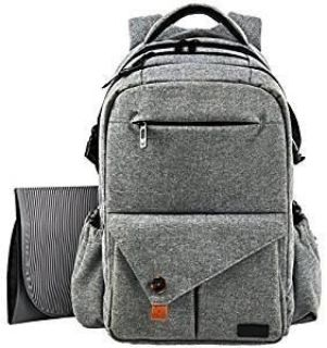 Multi-Function Large Baby Diaper Bag Backpack With Insulated Pockets-Changing Pad, Stylish & Durable with Waterproof Material, Gray