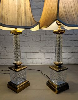 Vintage French Cut Glass Columnar Table Lamps