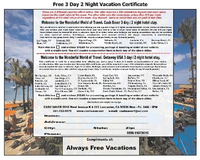 Free 3 Day 2 Night Vacation Certificate