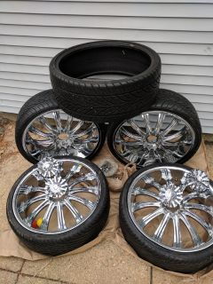 """22"""" Chrome Rims with tires"""
