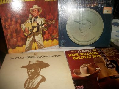 4 Hank Williams Sr Vinyl records Greatest Hits 2 & 3 and On Stage and 24 hits