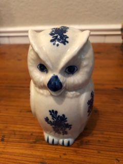 Small Owl Creamer Blue and White