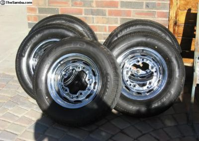 15 Volkswagen five lug chrome wheels and tires