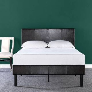 Zinus Deluxe Faux Leather Upholstered Platform Bed - Queen - New!