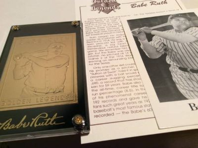 Babe Ruth Baseball Card--Golden Legends of Baseball