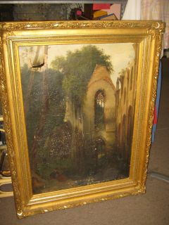 LARGE ANTIQUE OIL PAINTING ( AS IS )