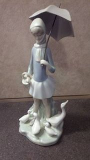 LLADRO RETIRED GIRL WITH UMBRELLA AND DUCKS