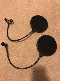 Two microphone pop filters. Great for gaming, making videos, etc.