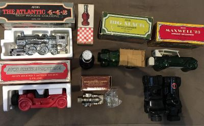 Avon glass car cologne decanters- truck, race cars, and a train